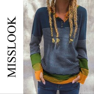 Miss Look Stripped Colour Block Button Sweater